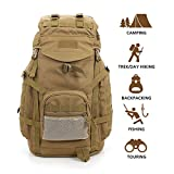Hisea Outdoor Hiking Backpack 60L - Durable Nylon Waterproof Daypack Large Tactical Military Backpacks MOLLE Rucksacks with Ergonomic Design for Cycling Camping Travelling Hunting