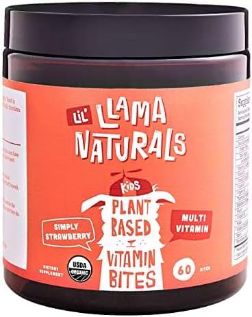 LLama Naturals Plant Based Vitamin Bites (Kids); Organic; No Added Sugar, Sweeteners or Synthetics; Vegan Multivitamin Gummies (D3, B12, Folate & More); 60 Real Fruit Bites (30 Days) (Strawberry)