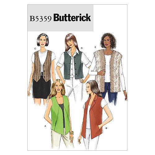 Butterick Patterns B5359 Misses' Vest, Size Y (XSM-SML-MED)