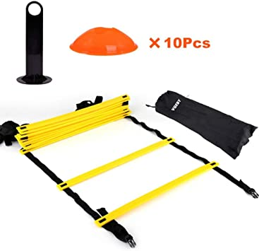 Kit de Entrenamiento Agilidad Velocidad - Escalera de Entrenamiento 12 Peldaños Ajustables + 10pcs Conos de Entrenamiento: Amazon.es: Deportes y aire libre