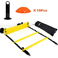Speed Agility Training Ladder Kit-12 Adjustable Flat Rungs + 10 Cones (Orange/Yellow) for Football Soccer Skate