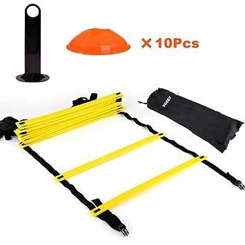 Kit de Entrenamiento Agilidad Velocidad - Escalera de Entrenamiento 12  Peldaños Ajustables + 10pcs Conos de d17fdc22831fe