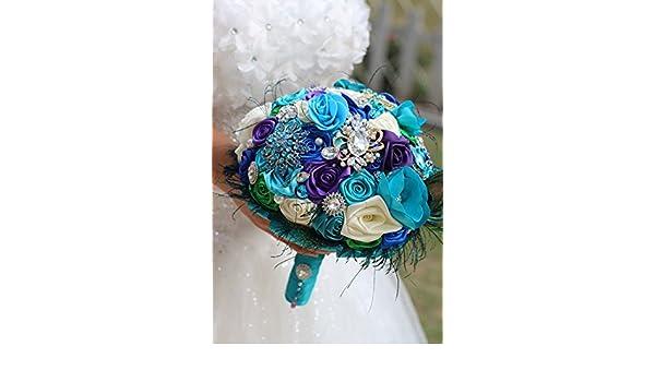 17ee262be Amazon.com: Bride Creative peacock feather bouquet, New arrival Romantic  Wedding Sky blue & purple flowers brooch bridal Bride 's Bouquets: Home &  Kitchen