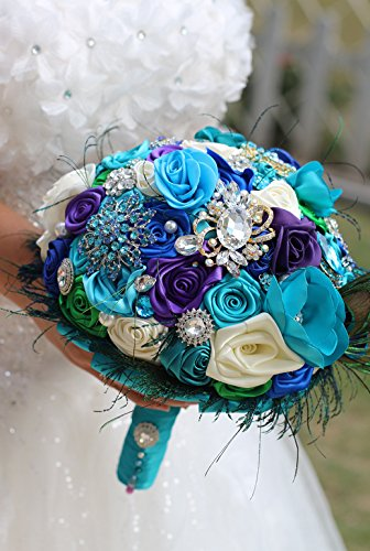 Bride Creative peacock feather bouquet, New arrival Romantic Wedding Sky blue & purple flowers brooch bridal Bride 's Bouquets - Peacock Feather Bouquet