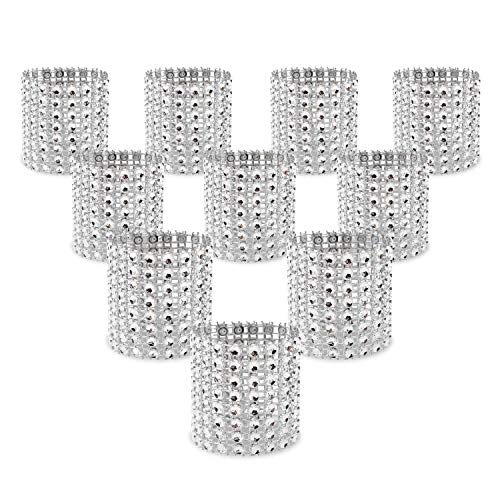 KEIVA Napkin Rings, Pack of 120 Rhinestone Napkin Rings Diamond Adornment for Place Settings, Wedding Receptions, Dinner or Holiday Parties, Family Gatherings (120, Silver) (Ring Ring Napkin Wedding)