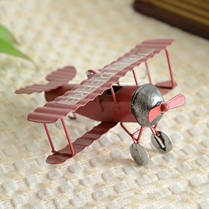 Wwi Air (MyLifeUNIT Vintage Retro Model Biplane, WWI Fighter Aircraft Decor (Red))