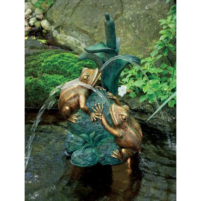 Aquascape Double Frog with Cattail Spitter Fountain with Pump for Pond, Container Water Garden, and Water Features, Poly-Resin | 78210
