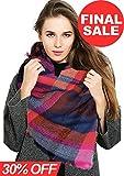 Womens Blanket Scarf Fashion Plaid Scarfs Warm Tartan Chunky Wrap Oversized Shawl Cape (Pink+Purple)