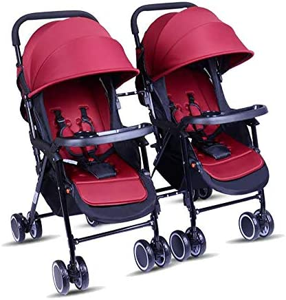 ベビーカー 双子ベビーカー、多機能高風景座り/横たわる折りたたみ式携帯用耐衝撃旅行ベビーカー、持ち運び用ライト 幼児, Red