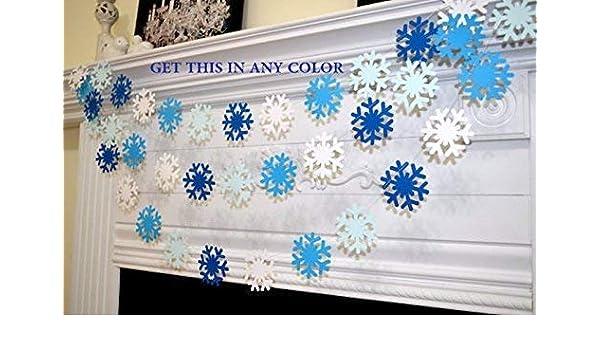 Amazon Com Blue White Snowflake Garland Frozen Snowflake Theme