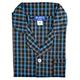 Bill Baileys Men's Long Woven Pajamas Set Button Front Down Long Sleeve Pajama (Large, Black-Blue)