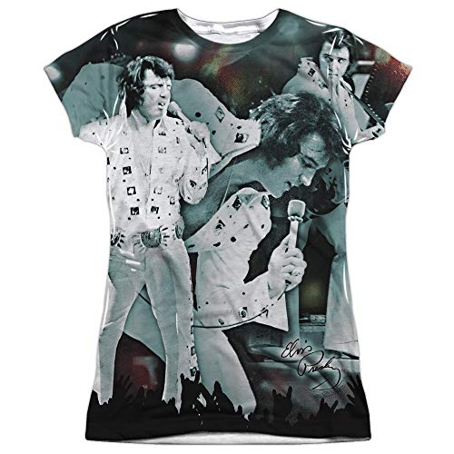 Elvis Presley - Now Playing - Two-Sided - Juniors Cap Sleeve T-Shirt - 2XL White