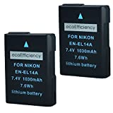 ecoEfficiency 2 Pack of Fully Decoded EN-EL14, EN-EL14A Batteries for Nikon D3400 Digital SLR Camera