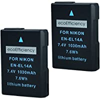 ecoEfficiency 2 Pack of Fully Decoded EN-EL14, EN-EL14A Batteries for Nikon D3400 Digital SLR Camera