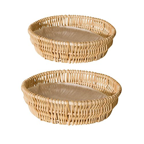 GHRMB Round Woven Wicker Basket Tabletop Serving /Diplay/Storage/Picnic Baskets Restaurant Serving Baskets,Bread Roll Food Basket Tray Fruit bowl Stackable Basket,Willow Basket (Hall Round Serving Plate)
