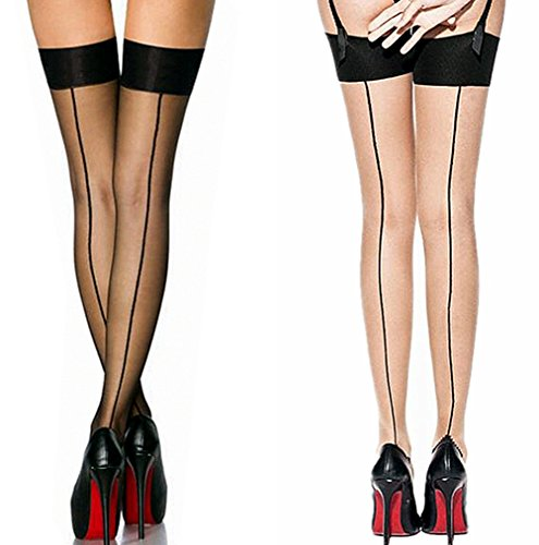 (2 Pair Nylon Sexy Thigh High Stockings With Back Seam For Women Suspender Garter Belts Cuban Heel Tights Pantyhose (Black+Skin))