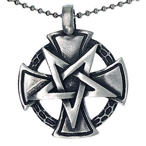 Jewelry Inverted Star Pentagram Iron Cross Amulet Charm pewter silver pendant necklace w Silver Ball Chain