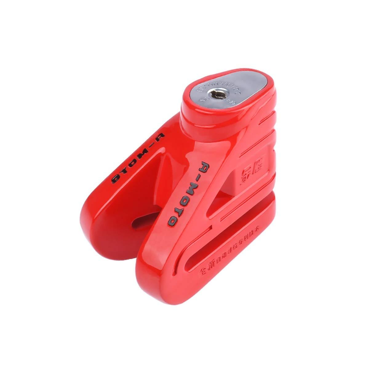 ZHONGYUE Motorcycle Lock, Disc Brake Lock, Anti-Theft Lock, Bicycle Disc Brake Lock, Purple, Green, Red, Silver (Color : Red)