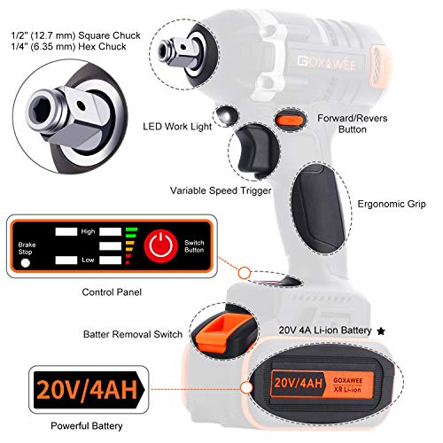 Impact Wrench, GOXAWEE 20V Cordless Impact Driver Set (4.0Ah Lithium Battery, 300Nm/ Brushless/ 2-Speed,12.7mm & 6.35mm Chuck) with 11 Accessories Include Tool Bag