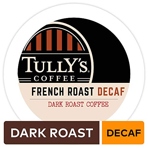 Tully's Coffee, French Roast Decaf, Single-Serve Keurig K-Cup Pods, Dark Roast Coffee, 96 Count (4 Boxes of 24 Pods) ()