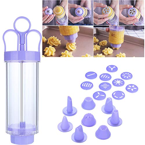 Amaping Cookie Biscuit Making Maker Pastry Mounting Patterns Pump Press Machine Mold Extruder with 8 x Mounted Flower Mouth Tools set (Purple)