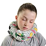 BCOZZY Kids Chin Supporting Travel Neck Pillow - Supports The Head, Neck Chin in in Any Sitting Position. A Patented Product. Child Size, Trendy Pineapple