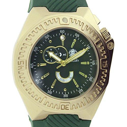 Relojes Calgary Alpha Team Golden. Reloj clásico para Mujer con Correa de Goma Verde con Esfera Dorada y Verde,: Amazon.es: Relojes