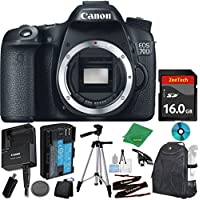 Canon EOS 70D Digital SLR with Full 1080p Video with Movie Camera Body (NO LENS), ZeeTech 6pc Starter Cleaning Set, Microfiber Cleaning Kit, Backpack Case for DSLRs, ZeeTech 16GB Memory Card, Tripod