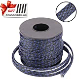 PET Braided Cable Sleeve 100ft - 1/2 inch Cable Management Sleeve Cables Organizer for Wrap and Protect Cables - BlackBlue Wire Loom Tubing