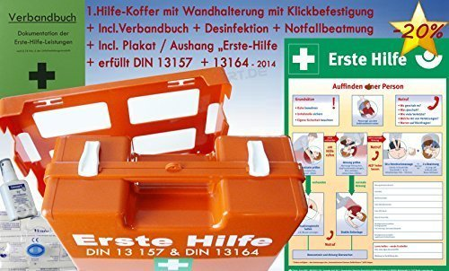 Erste-Hilfe-Koffer M3 PLUS für Betriebe DIN 13157 EN 13157 Stand 2016 von WM-Teamsport - incl. Notfall-Beatmungshilfe, Verbandbuch & Desinfektion & Plakat