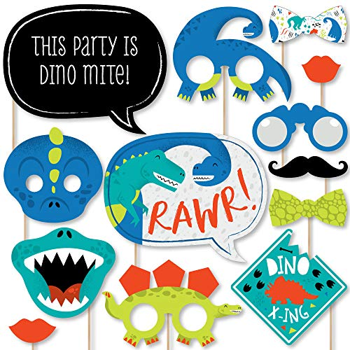Big Dot of Happiness Roar Dinosaur - Dino Mite T-Rex Baby Shower or Birthday Party Photo Booth Props Kit - 20 -