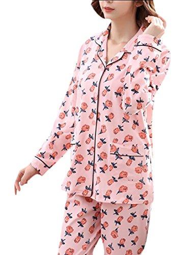 (ainr Women's Sleepwear Short Sleeves Pajama Set With Long Pants 12 L)