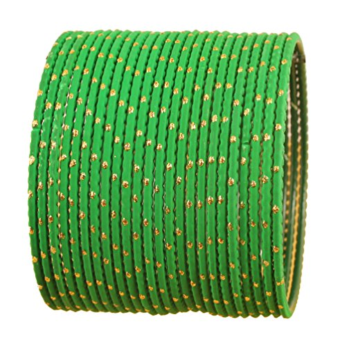 Touchstone New Colorful Bangle Collection Indian Bollywood Exclusive Golden Glaze Grass Green Color Designer Jewelry Special Large Size Bangle Bracelets. Set of 24 for Women.