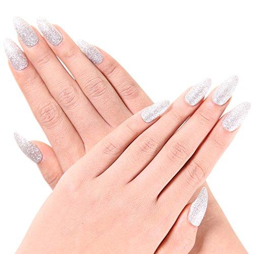 Ejiubas 24 Pcs Luxurious Silvery Glitter Stiletto Nails Full Cover Medium False Nail Tips