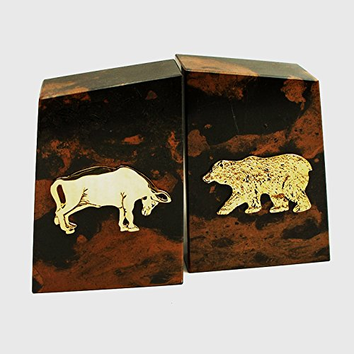 (KensingtonRow Home Collection Bookends - Wall Street Tiger Eye Marble Bookends - Bull and Bear Bookends)