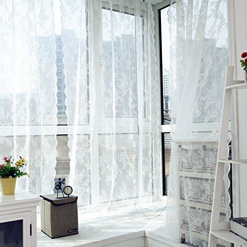 ulle Curtains Lace Insect Bed Canopy Netting Curtain Drape Panel Leaf Door Window Sheer Curtain for Living Room (White) ()