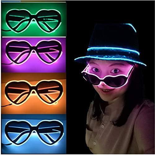 Forme de Coeur Lunettes /à LED Nouveaut/é Verres Lumineux Ajustable Fil EL N/éon Rave Lunettes Bleu