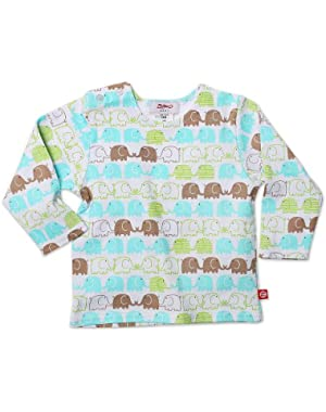 Unisex-baby Infant Elephants Long Sleeve T-Shirt, White, 12 Months