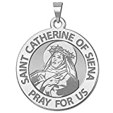 Saint Catherine of Siena Religious Medal - - 3/4 Inch Size of a Nickel -Sterling Silver
