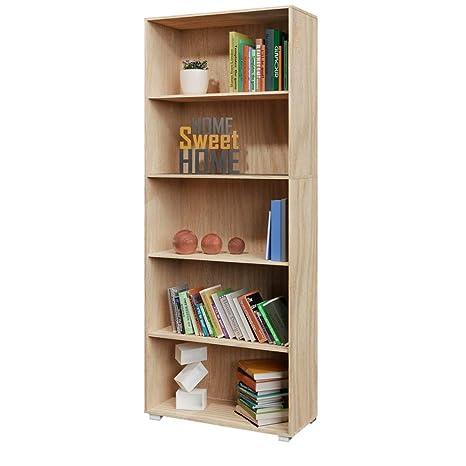 Deuba Standregal Bücherregal Vela 190cm Eiche 5 Fächer Wandregal