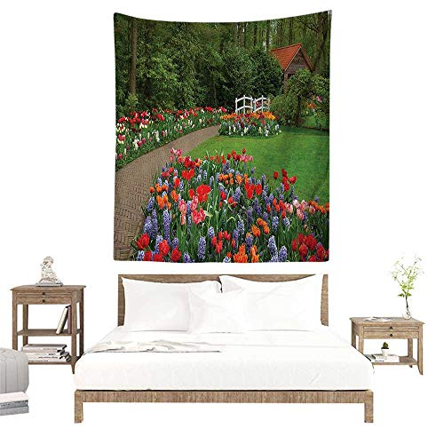 alisoso Wall Decor Room Tapestry,Country Home Decor,A Spring Garden with Forest,Hut,Small Bridge,Plants,Flowerbeds and Walkway,Green Purple W32 x L32 inch Printed Nature Wall Tapestry from alisoso