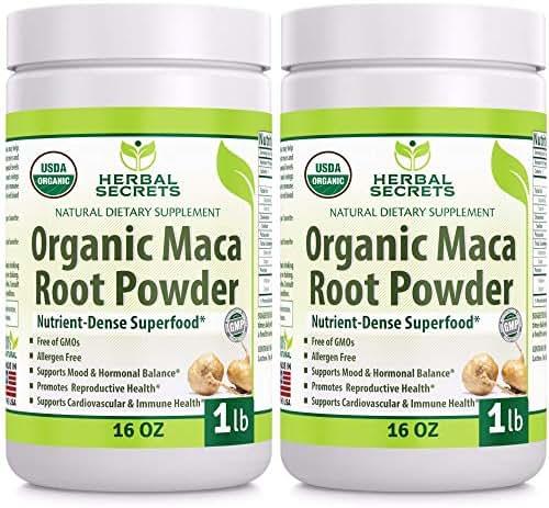 Herbal Secrets USDA Certified Organic Maca Root Powder- 16 oz (1 lb)- GMO FREE- Supports Healthy Mood, Hormonal Balance, Cardiovascular Health & Immune Health