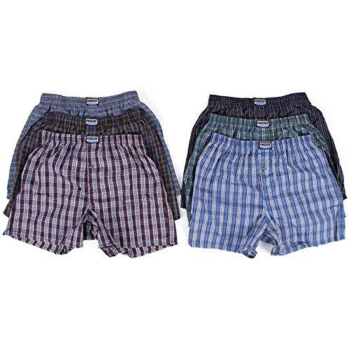 6 Men Plaid Boxer Shorts Underwear (Large) (Men Boxers Lego For)