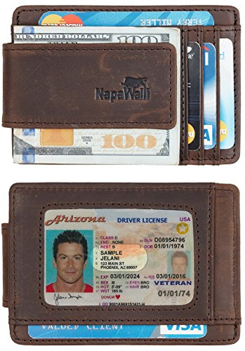 NapaWalli Genuine Magnetic Napa Leather Front Pocket Money Clip Slim Minimalist Wallet Made with Powerful RARE EARTH Magnets Plus RFID Blocking (Crazy Horse Coffee)