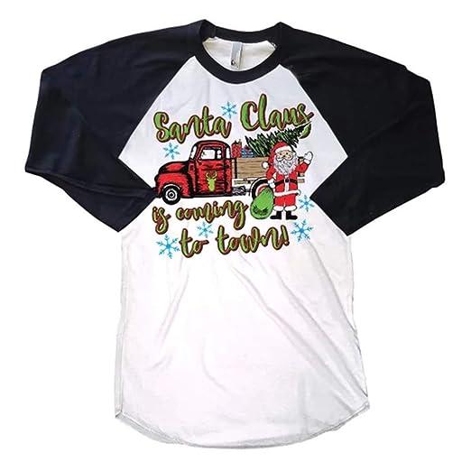 Amazon.com  Women s Christmas Shirts O-Neck Stripe 3 4 Sleeve Raglan T-Shirt  Casual Tops Blouses for Teens  Clothing 46ad1e41f
