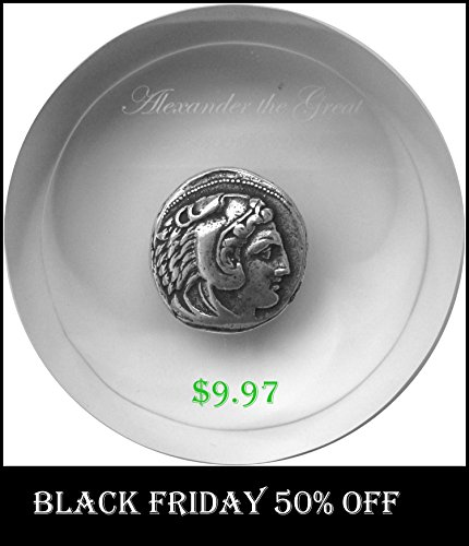 FOR PERCY JACKSON FANS, ALEXANDER THE GREAT, KING OF MACEDONIA, PAPERWEIGHT, SILVER PLATE