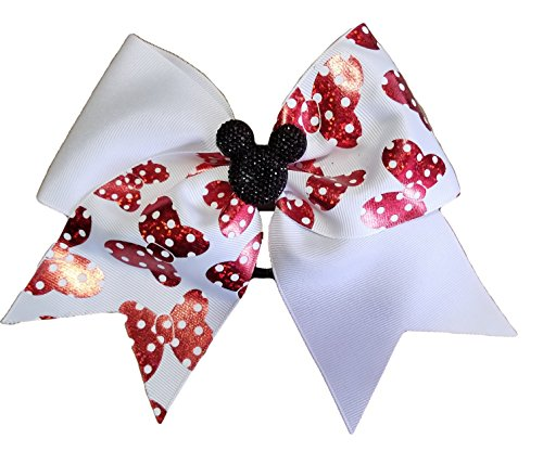 Cheer bows white Minnie mouse Mickey bling Hair -
