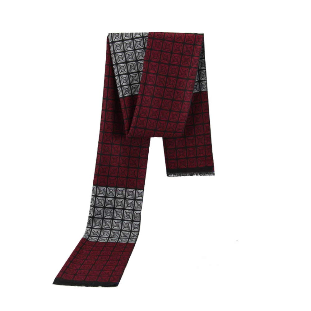 Mens Scarf Winter Wine Red Square Cotton Business Brushed Plaid Bib