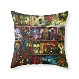 Society6 The Fantastic Voyage - A Steampunk Book Shelf Throw Pillow Indoor Cover (18'' x 18'') with pillow insert