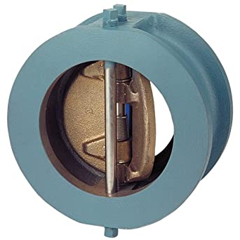 "NIBCO Ductile Iron Check Valve, Inline, Twin Disc, Class 125, Buna-N Nitrile Rubber Seat, 6"" Wafer"